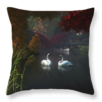 Swans In A River Near Home Throw Pillow