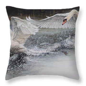 Throw Pillow featuring the painting Swans In Dispute by Alan M Hunt