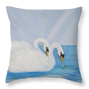Swans On Open Water Throw Pillow