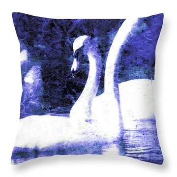 Throw Pillow featuring the digital art Swans On Water  by Fine Art By Andrew David