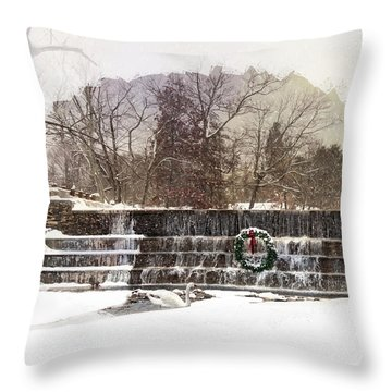 Throw Pillow featuring the photograph Swansea Dam At Christmas by Robin-lee Vieira