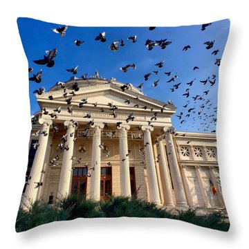 Pigeon Swarm At The Ateneul Roman In Bucharest, Romania Throw Pillow