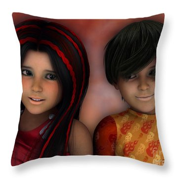Swarthy Twins Throw Pillow by Jutta Maria Pusl