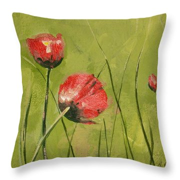 Swaying Poppies Throw Pillow