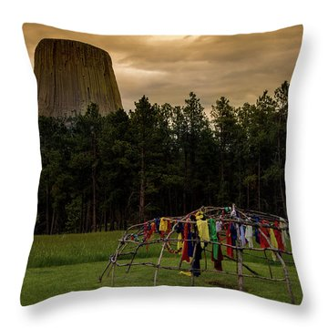 Throw Pillow featuring the photograph Sweat Lodge At Devil's Tower by Gary Lengyel