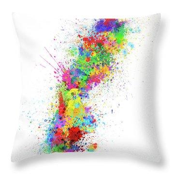 Sweden Paint Splashes Map Throw Pillow