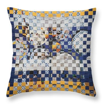 Throw Pillow featuring the mixed media Swedish Table by Jan Bickerton