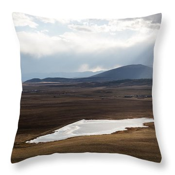 Throw Pillow featuring the photograph Sweeping Plain And A Small Lake Between Mountain Foothills Near Fairplay In Park County by Carol M Highsmith