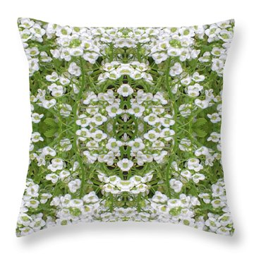 Throw Pillow featuring the digital art Sweet Alyssum Abstract by Linda Phelps