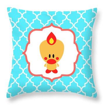 Sweet Angel Bird Cute Blue Trellis Decorative Pillow And Square Wall Art Print Throw Pillow