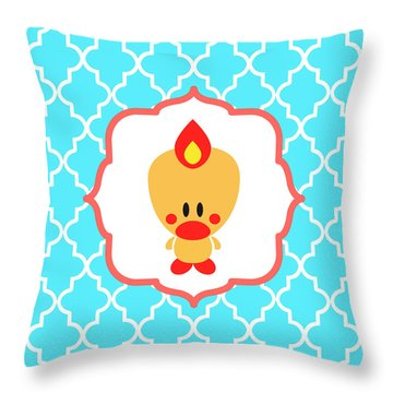 Sweet Angel Bird Cute Blue Trellis Decorative Pillow And Square Wall Art Print Throw Pillow