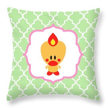 Sweet Angel Bird Cute Green Trellis Decorative Pillow And Square Wall Art Print Throw Pillow