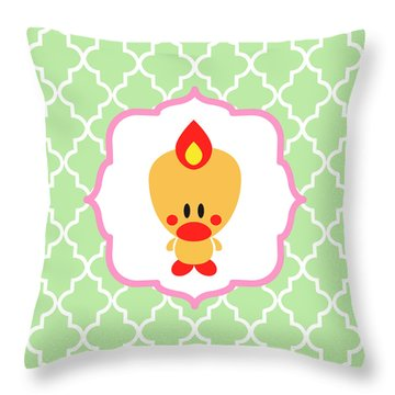 Sweet Angel Bird Cute Green Trellis Decorative Pillow And Square Wall Art Print Throw Pillow