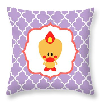 Sweet Angel Bird Cute Lilac Trellis Decorative Pillow And Square Wall Art Print Throw Pillow