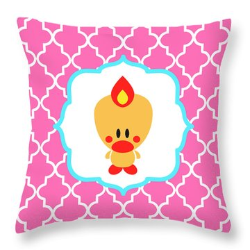 Sweet Angel Bird Cute Pink Trellis Decorative Pillow And Square Wall Art Print Throw Pillow