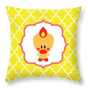Sweet Angel Bird Cute Yellow Trellis Decorative Pillow And Square Wall Art Print Throw Pillow