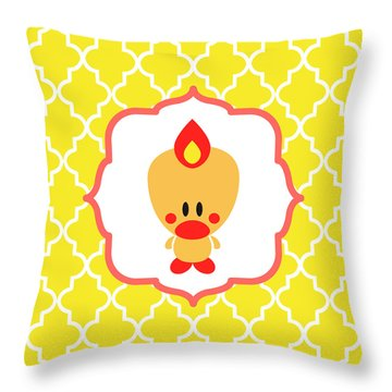 Sweet Angel Bird Cute Yellow Trellis Decorative Pillow And Square Wall Art Print Throw Pillow