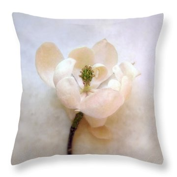 Sweet Bay Magnolia Bloom Throw Pillow by Louise Kumpf