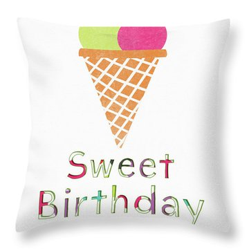 Sweet Birthday Wishes- Art By Linda Woods Throw Pillow