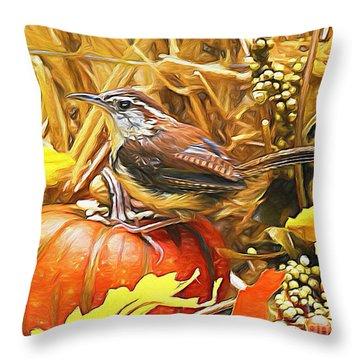 Sweet Carolina Wren Throw Pillow by Tina  LeCour