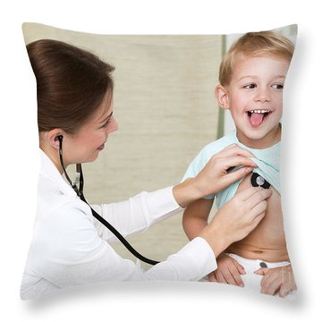 Sweet Child Visiting Doctor Throw Pillow