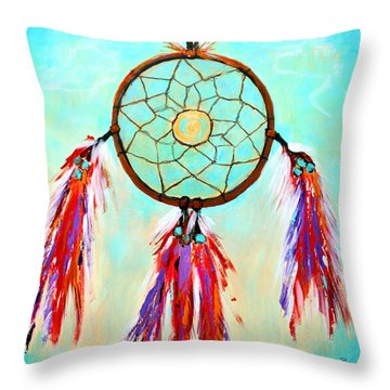 Throw Pillow featuring the painting Sweet Dream Catcher by M Diane Bonaparte