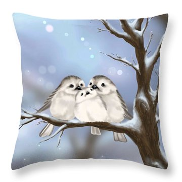 Throw Pillow featuring the painting Sweet Family by Veronica Minozzi