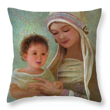 Throw Pillow featuring the painting Sweet Grace Madonna And Child by Nancy Lee Moran