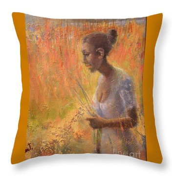 Throw Pillow featuring the painting Sweet Grass by Gertrude Palmer
