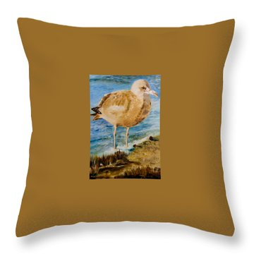 Sweet Gull Chick Throw Pillow