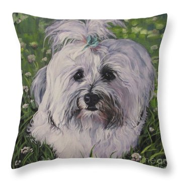 Throw Pillow featuring the painting Sweet Havanese Dog by Lee Ann Shepard