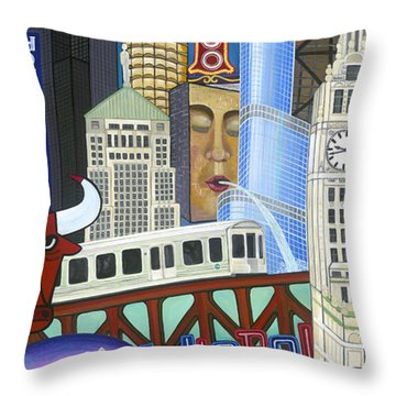 Throw Pillow featuring the painting Sweet Home Chicago by Carla Bank