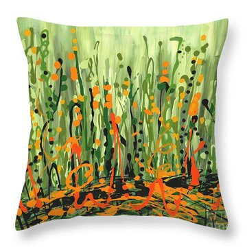 Throw Pillow featuring the painting Sweet Jammin' Peas by Holly Carmichael