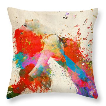 Throw Pillow featuring the digital art Sweet Jenny Bursting With Music Cropped by Nikki Marie Smith