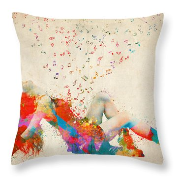 Sweet Jenny Bursting With Music Throw Pillow
