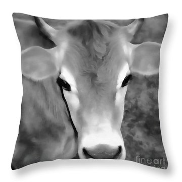 Throw Pillow featuring the painting Sweet Jersey Girl - Jersey Cow by Janine Riley