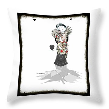 Throw Pillow featuring the mixed media Sweet Lady 7 by Ann Calvo