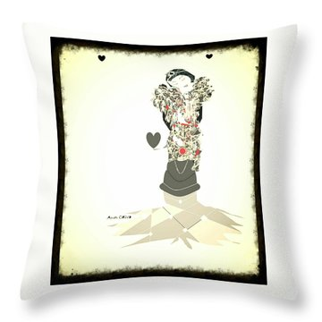 Throw Pillow featuring the mixed media Sweet Lady 8 by Ann Calvo