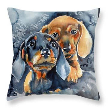 Sweet Little Dogs Throw Pillow