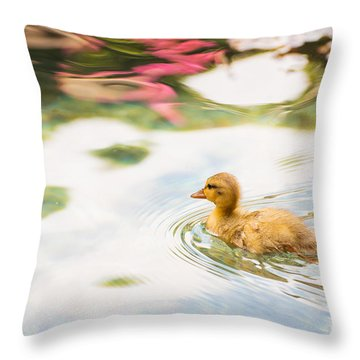 Sweet Little Duckling Throw Pillow by MaryJane Armstrong