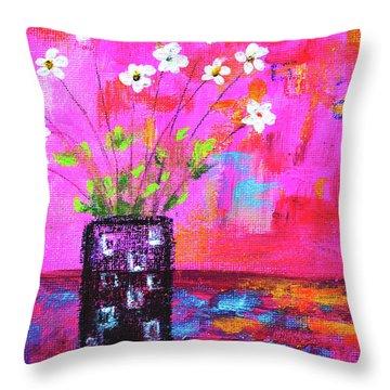 Sweet Little Flower Vase Throw Pillow