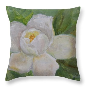 Throw Pillow featuring the painting Sweet Magnolia by Sandra Nardone