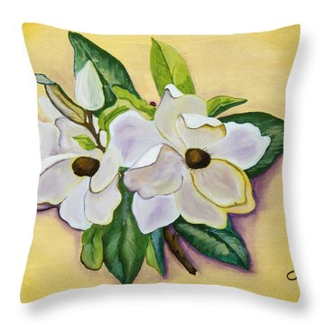 Sweet Magnolias Throw Pillow by Christie Nicklay