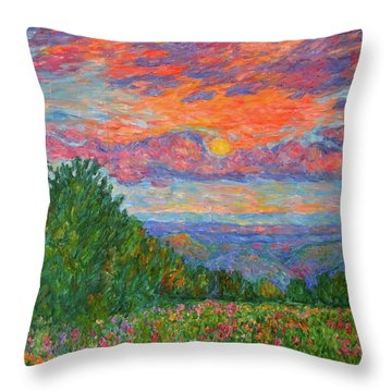 Sweet Pea Morning On The Blue Ridge Throw Pillow by Kendall Kessler