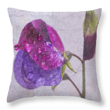 Sweet Pea Raindrops Throw Pillow