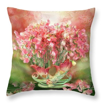 Sweet Peas In Sweet Pea Vase 2 Throw Pillow by Carol Cavalaris
