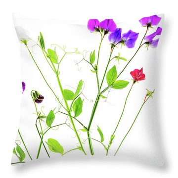 Throw Pillow featuring the photograph Sweet Peas by Rebecca Cozart