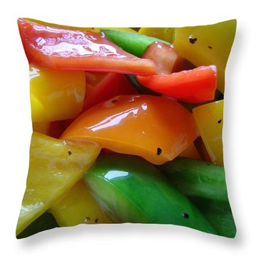 Sweet Peppers Throw Pillow by Jana Russon