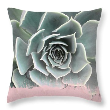 Sweet Pink Paint On Succulent Throw Pillow