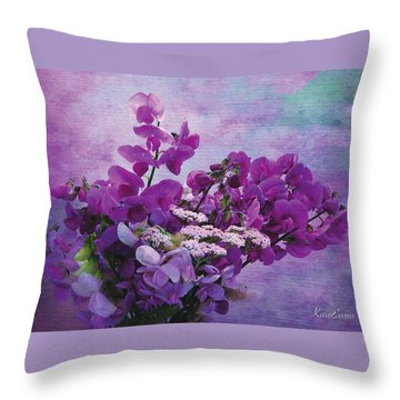 Sweet Purple Bouquet Throw Pillow